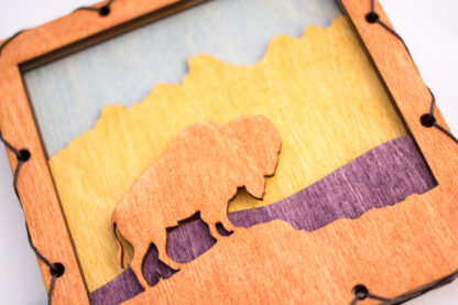 Bison with Mountains Home Decor with four layers of wood