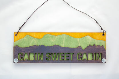 Cabin Sweet Cabin Text Sign with Mountains