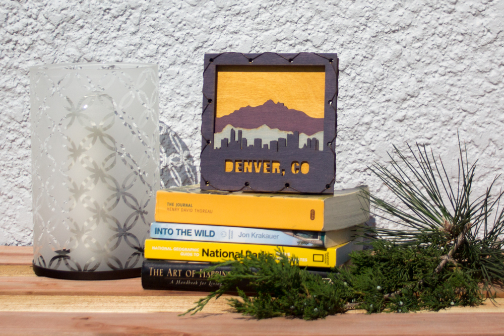 Denver city skyline with Mountains Home Decor with four layers of wood