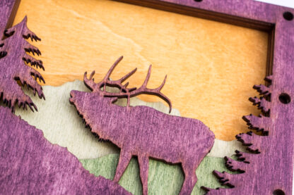 Elk and Mountains Home Decor with four layers of wood