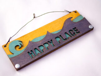 Happy Place Text Sign with Ocean Waves