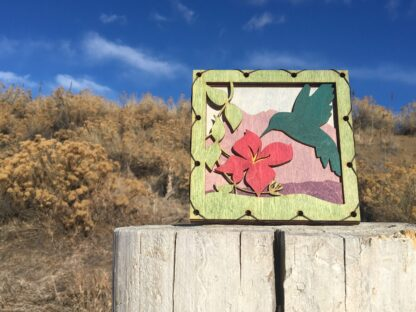 Hummingbird with flowers and Mountains Home Decor with four layers of wood