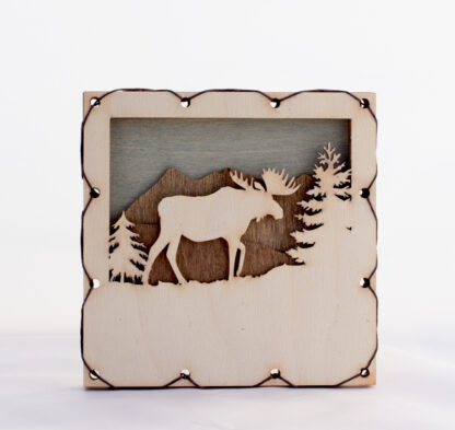 Moose with Mountains Home Decor with four layers of wood