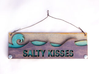 Salty Kisses Text Sign with Ocean Waves