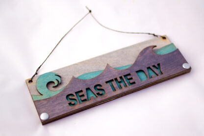 Seas the Day Text Sign with Ocean Waves