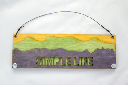 Simple Life Text Sign with Mountains