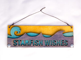 Starfish Wishes Text Sign with Ocean Waves